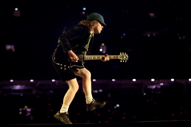 Angus Young of AC/DC performs at ANZ Stadium in Sydney, 18/2/10